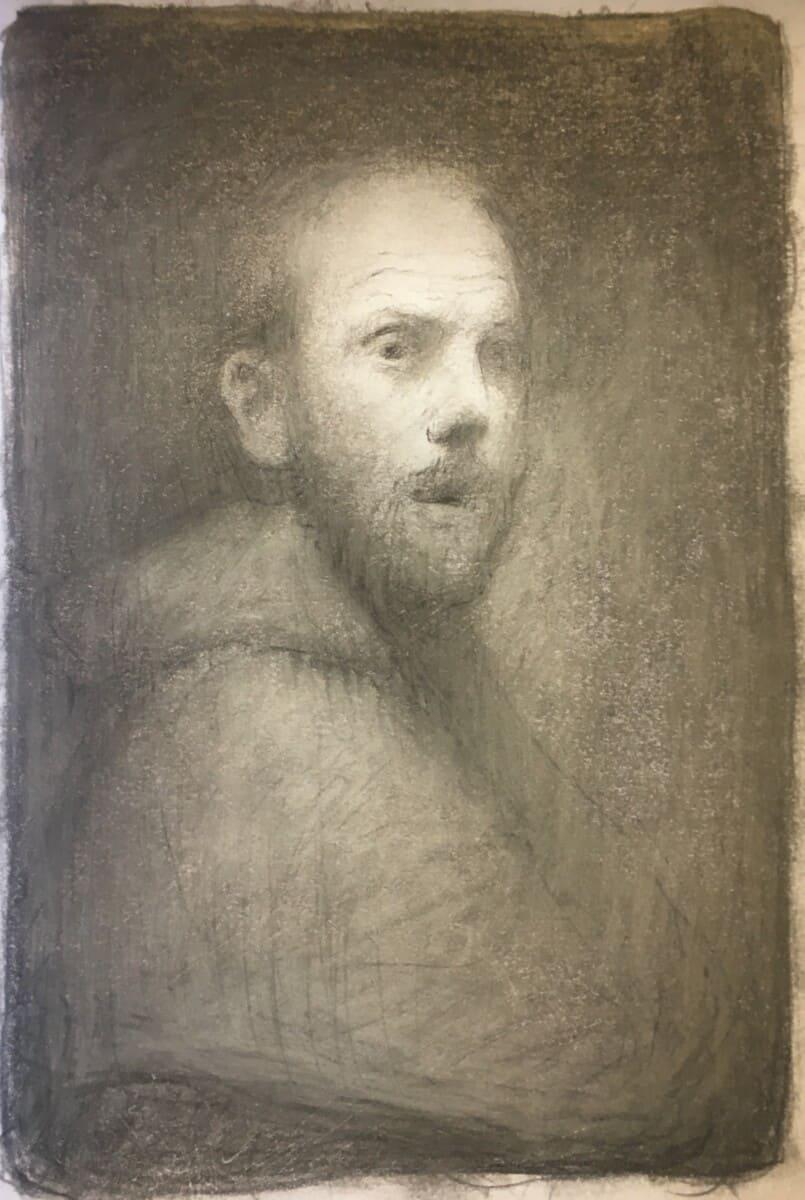 Blyantskisse til selvportrett med kutte